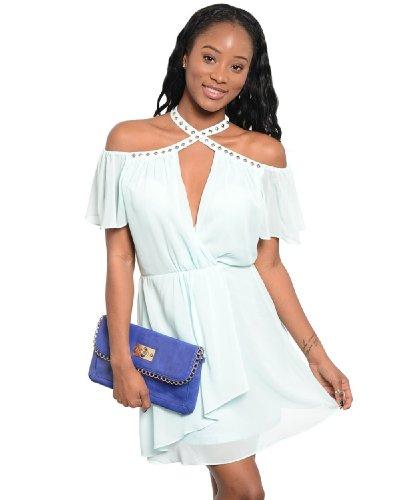 2Luv Women'S Stud Accent Plunge Neckline Mini Dress Mint L(Kd4460)