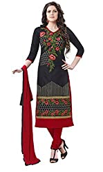 Fashionup Women's Cotton Ethnic Dress Material ( Black )