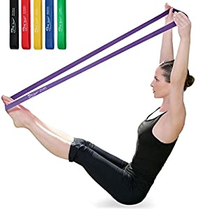 JollySports Resistance Bands Set 6 Loop Best for Training Men or Women Legs Knee Arms and Low to Heavy Duty Workout and Exercise (Multi Color x 6, 5cm x 61cm)