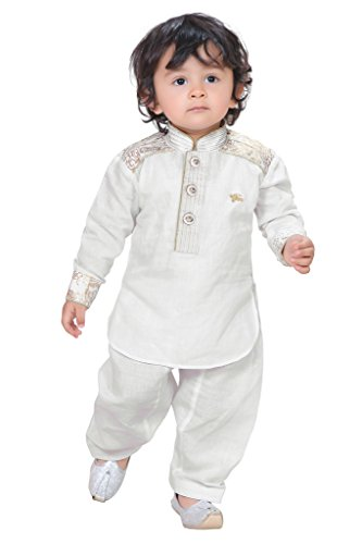 Munna Munni Classic White Cotton Linen Pathan Suit for Boys(2-3 Years)