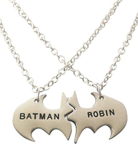 "DC Comics BATMAN & ROBIN BBF 2 Piece Metal Necklace 18"" Chain"