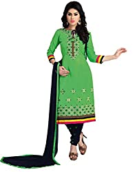 Justkartit Women's (& Girls) Unstitched Green & Black Colour Beautiful Chudidar Salwar Suit / Stylish Salwar Kameez / Exclusive Churidar Dress Material