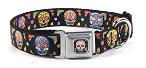 Thaneeya McArdle Colorful Sugar Skulls Repeating on Black Dog Collar by Buckle Down