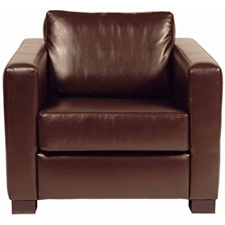 Faux Leather Armchair Colour: Dark Brown.