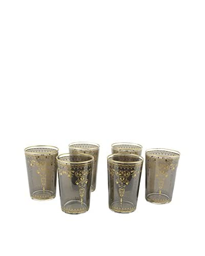 Uptown Down Set of 6 Morjana Tea Glasses, Smoke