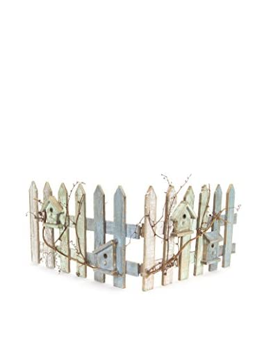 Melrose Fence With Bird Houses, White/Blue/Green