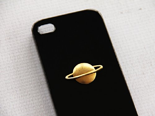 Black Iphone 4S 4 Phone Protector Cover Alien Planet Saturn Rings Galactic Night Gold Detail Button