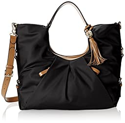 Vince Camuto Cris Nylon Shopper Bag,Black Glazed,One Size