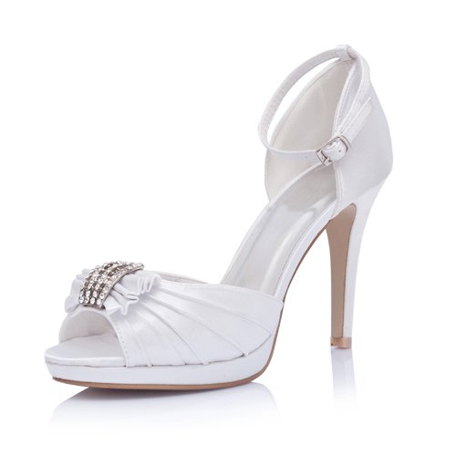 Elegant Satin Upper High Heel Ankle-Straps Open-toes With Rhinestone Wedding Bridal Shoes,White,Size 8.5 US