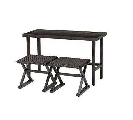 New Woodbury 3-Piece Patio Console Set Outdoor Patio Furniture Wicker Chairs Outdoor Living Table and Chairs