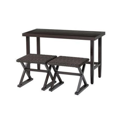 New Woodbury 3-Piece Patio Console Set Outdoor Patio Furniture Wicker Chairs Outdoor Living Table and Chairs (Wicker Console compare prices)