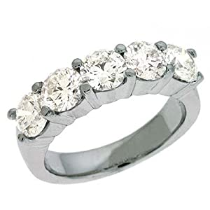 14k White Prong-Set 2.5 Ct Diamond Band Ring - Size 7.0 - JewelryWeb