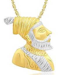 VK Jewels Maratha Warrior Chhatrapati Shivaji Maharaj Gold And Rhodium Plated Alloy Pendant With Chain For Men...