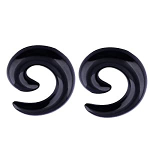 Kadima Body Piercing Jewelry One Pair (2pcs) Black Acrylic Spiral Tapers Ear Plugs Expanders Stretchers 5MM