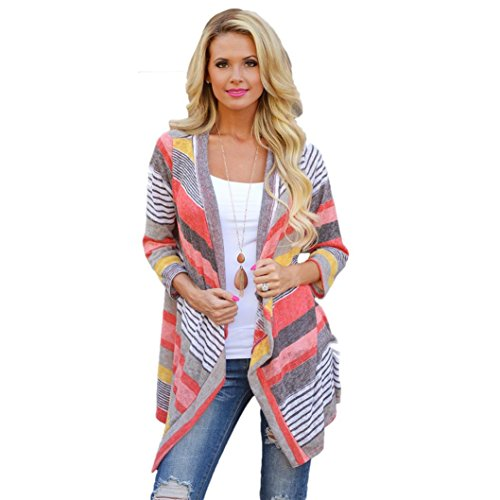 Review Of Beautyvan, Women Irregular Stripe Shawl Kimono Cardigan Tops Cover Up Blouse