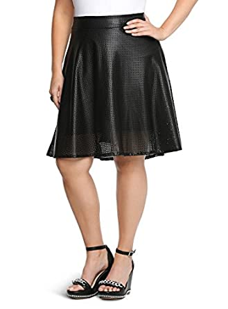 torrid plus size perforated faux leather skater skirt at