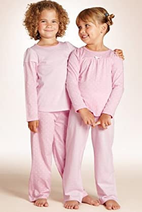 2 Pack - Younger Girls' Pure Cotton Spot & Stripe Pyjamas