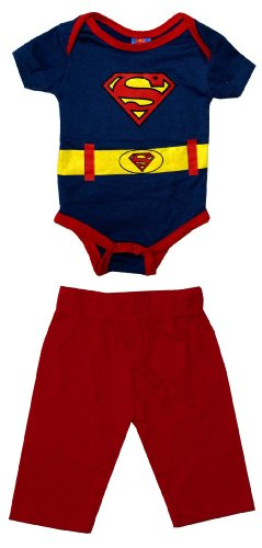 Superman Logo Costume DC Comics Baby Creeper Romper Snapsuit With Pants 2 Piece