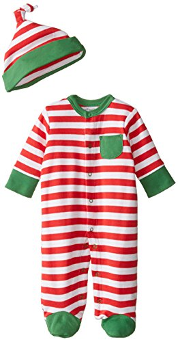 Offspring - Baby Apparel Baby-Boys Newborn Holiday Stripe Footie and Hat