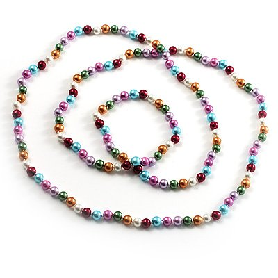 Long Multicolored Glass Pearl Necklace (140cm)