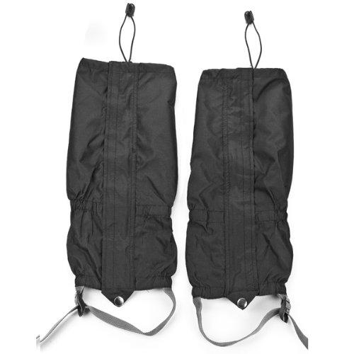 1 Pair Jet Black Unisex Double Sealed Velcro Zippered Closure TPU Strap Waterproof 400D Nylon Cloth Leg Gaiters Leggings Cover for Biking Boating Fishing Skiing Snowboarding Hiking Climbing Hunting