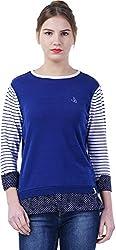 TSAVO Women's Regular Fit Top (1552_BLUE, Blue, Medium)