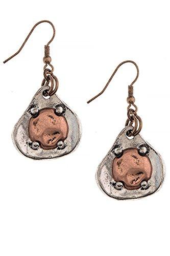 [Native Patina Wavy Teardrop 316L Surgical Steel Earrings (Copper/Silver)] (Wavy Guy Costume)