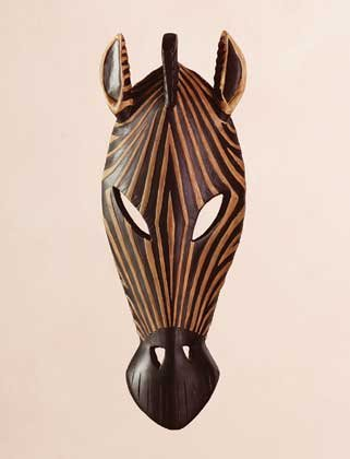 Carved Wood African Tribal Zebra Mask Wall Plaque Decor