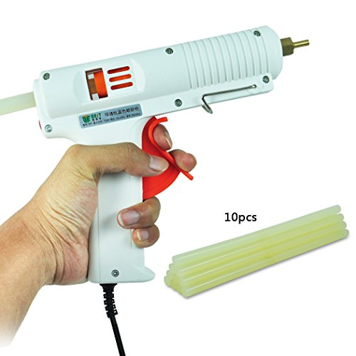 BSTPOWER® Professional Adjustable Temperature Full Size Hot Melt Adhesive Glue Gun Low Temp 100W + 10pcs Glue Sticks 10.64inch 11mm
