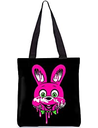Snoogg Red Bunny Designer Poly Canvas Fashion Printed Shopping Shoulder Lunch Tote Bag For Women