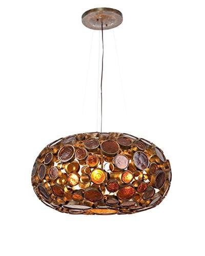 Varaluz Fascination 4-Light Chandelier, Amber Bottle Glass