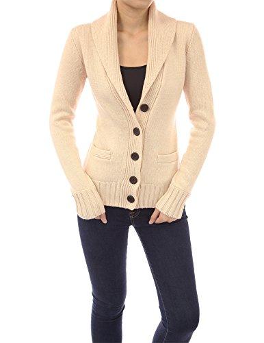 PattyBoutik Women's Shawl Collar Button Down Knit Cardigan (Beige XL)