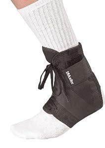Mueller Soft Ankle Brace with Straps, Black, Large, Women's 12-14, Men's 13-15