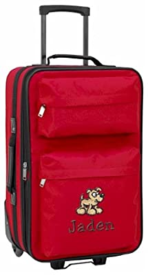 Personalised kids luggage with wheels (red)