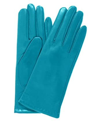 Fratelli Orsini Everyday Women's Italian Cashmere Lined Leather Gloves Size 6 1/2 Color Aqua