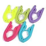 折りたたみ ハンガー 5個セット(紫・黄・ピンク・青・緑)【旅行や携帯に便利】