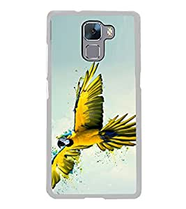 Yellow Parrot 2D Hard Polycarbonate Designer Back Case Cover for Huawei Honor 7 :: Huawei Honor 7 Enhanced Edition :: Huawei Honor 7 Dual SIM