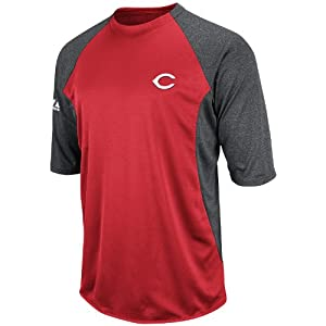 MLB Cincinnati Reds 3/4 Sleeve Crew Neck Featherweight Tech Fleece Pullover, Red/Grey, Medium