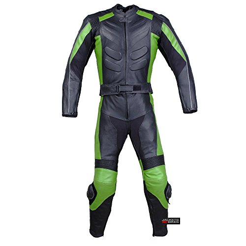 2PC MOTORCYCLE 2 PC LEATHER RACING SUIT ARMOR GREEN 40