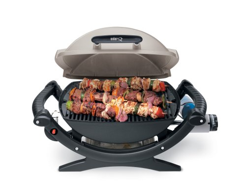 Weber Q100 Portable Gas Grill Portable Propane Gas Grill With  189 Square Inch Cooking Area And 8,500 BTU Stainless Steel Burner.