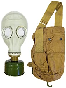 Soviet Russian Civilian Gas Mask Model Russian GP-5 w/ Cloth Shoulder Bag (Haversack), NBC Filter (No Expiration) (Small)