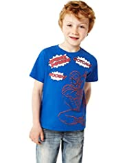 Crew Neck Pure Cotton Spiderman Print T-Shirt