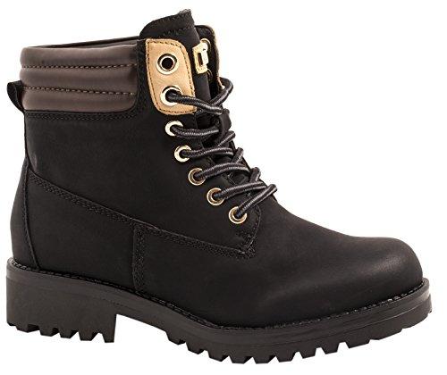 Elara Damen Stiefeletten , Profilsohle Schnuerer , Worker Boots , Gefuettert & Ungefuettert, Farbe: Schwarz, Gr.38