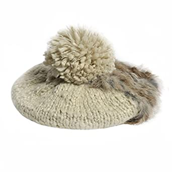 GP Accessories Women's Rabbit Fur Trim Hand Knit Pom Pom Beanie Beret Hat Medium Beige