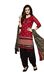 Leranath Fashion House Womens Pure Chanderi Material Red, Black Dress (LE16-282SUN-2)