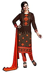 Ethnic For You Chanderi Unstitched Salwar Suit Dress Materials(Brown)