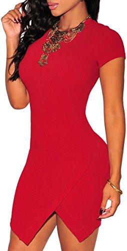 mywy - abito jersey donna aderente maniche corte vestito corto miniabito (taglia unico, ROSSO)