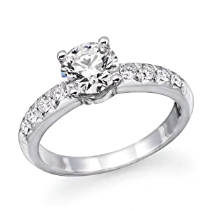 1 ctw. Round Diamond Solitaire Engagement Ring in 14k White Gold Size-7.5