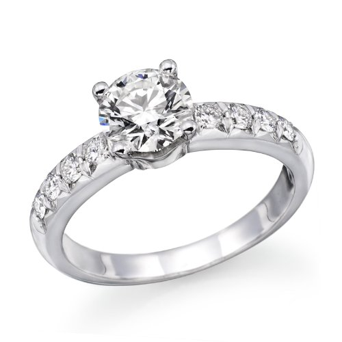 1 ctw. Round Diamond Solitaire Engagement Ring in 14k White Gold Size-6.5