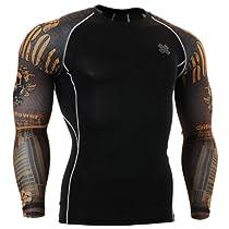 Fixgear Mens Womens Sport MMA Compression Base Layer T Shirt Long Sleeve L